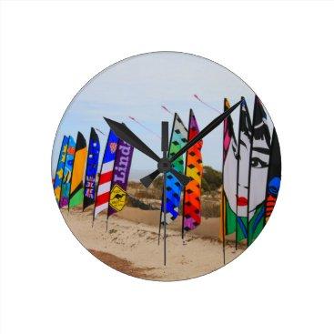 Kite festival flags round clock