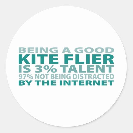 Kite Flier 3% Talent Classic Round Sticker