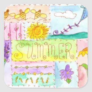 Kite Flowers Bees Watercolor Summer Square Sticker