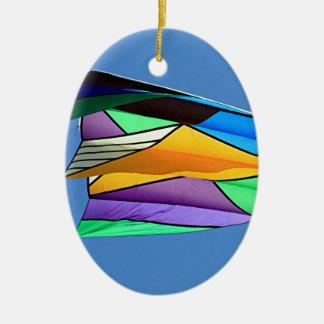 Kite flying 1 ceramic ornament