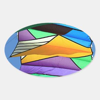 Kite flying 1 oval sticker