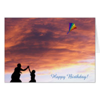 Kite flying image for Birthday greeting card