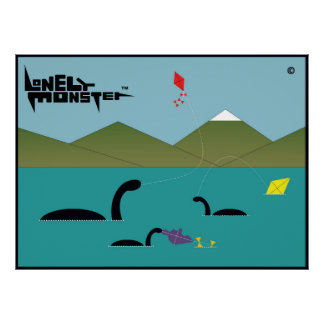 Kite Flying Lonely Monsters Poster