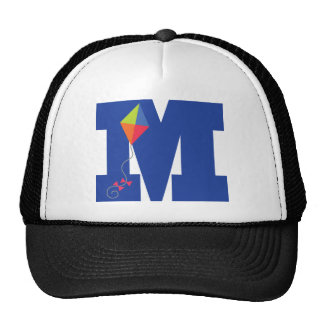 Kite Kid Monogram Letter M Alphabet Trucker Hat