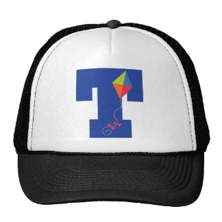 Kite Kid Monogram Letter T Alphabet Trucker Hat