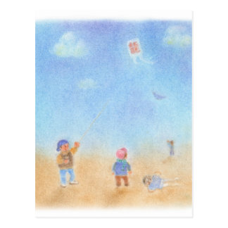 Kite lifting pastel postcard