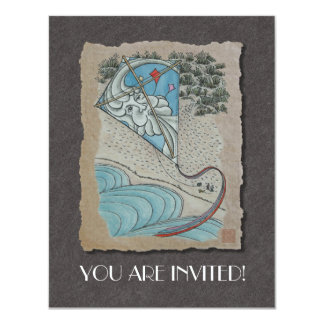 "Kite & Mr. North Wind 4.25"" X 5.5"" Invitation Card"