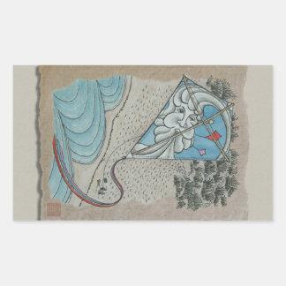 Kite & Mr. North Wind Rectangular Sticker
