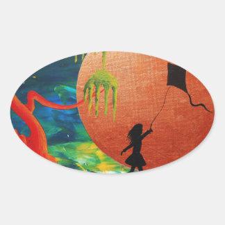 Kite. Oval Sticker