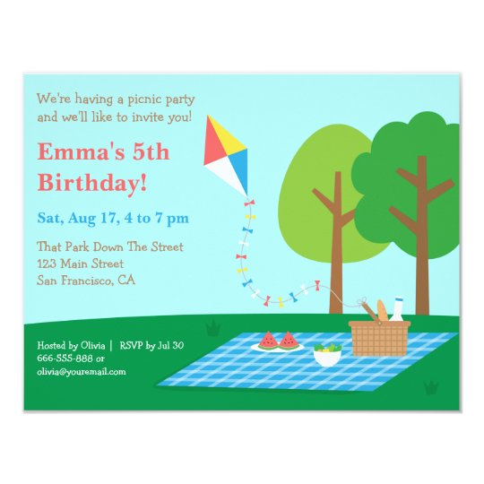Kite Park Picnic Birthday Party Invitations | Zazzle