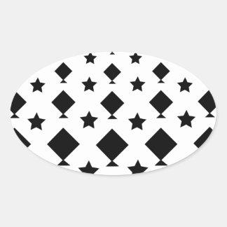 Kite & Star Shapes Design Motif Oval Sticker
