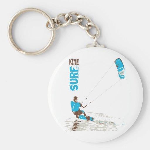 kite surf basic round button keychain