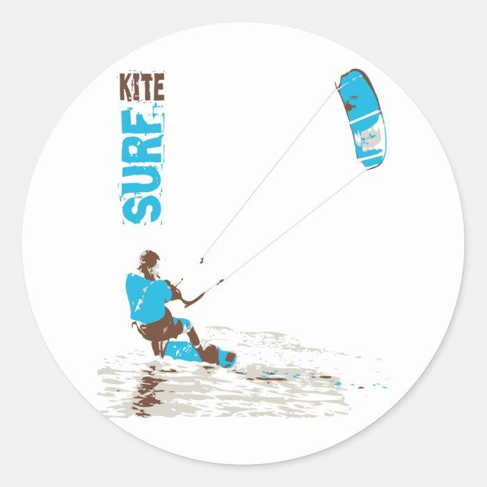 kite surf classic round sticker