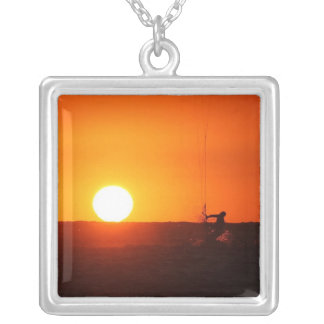Kite Surfer 3 Silver Plated Necklace