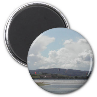 Kite Surfers. Nice scenic view. 2 Inch Round Magnet