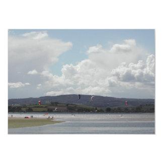 Kite Surfers. Nice scenic view. Card