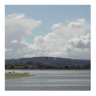 Kite Surfers. Nice scenic view. Cutout