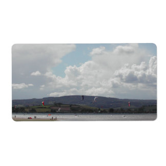 Kite Surfers. Nice scenic view. Label