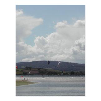 Kite Surfers. Nice scenic view. Postcard