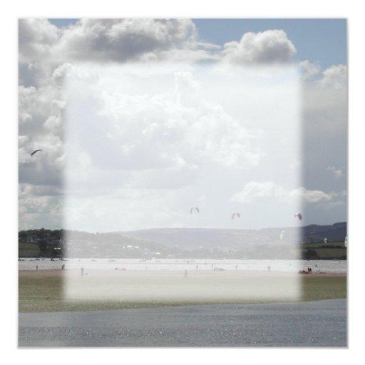 """Kite Surfers. Scenic view. 5.25"""" Square Invitation Card"""