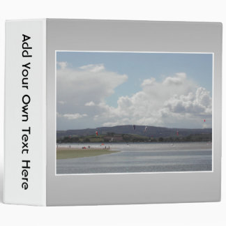 Kite Surfers. Scenic view. On Gray. 3 Ring Binder