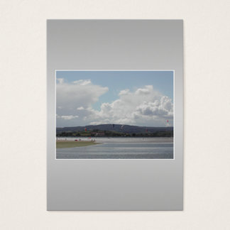 Kite Surfers. Scenic view. On Gray. Business Card