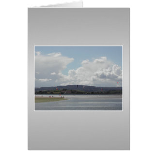 Kite Surfers. Scenic view. On Gray. Card