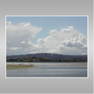Kite Surfers. Scenic view. On Gray. Cutout