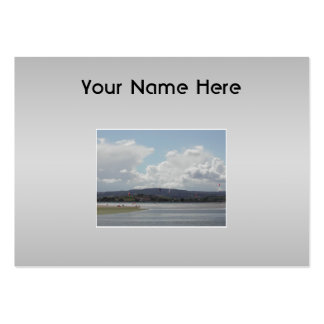 Kite Surfers. Scenic view. On Gray. Large Business Card