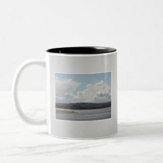 Kite Surfers. Scenic view. On Gray. Coffee Mug