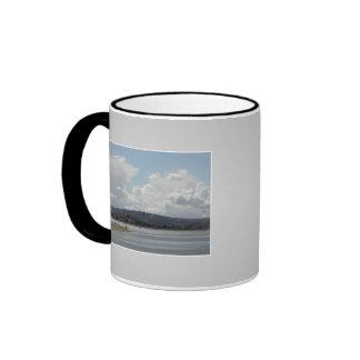Kite Surfers. Scenic view. On Gray. Mugs
