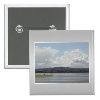 Kite Surfers. Scenic view. On Gray. Pinback Button