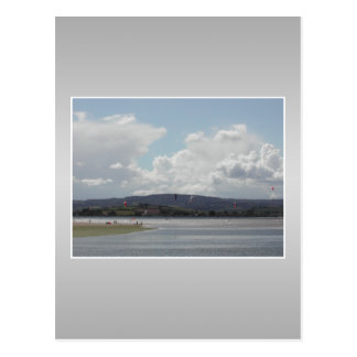 Kite Surfers. Scenic view. On Gray. Postcard