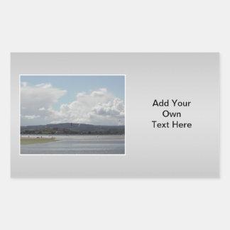 Kite Surfers. Scenic view. On Gray. Rectangular Sticker
