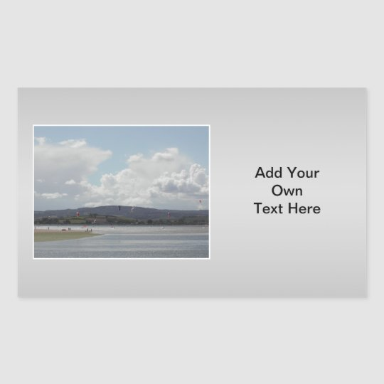 Kite Surfers. Scenic view. On Gray. Rectangular Sticker