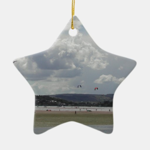 Kite Surfers. Scenic view. Double-Sided Star Ceramic Christmas Ornament