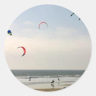 Kite Surfing Classic Round Sticker