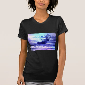 Kite Surfing Ladies Black T-Shirt