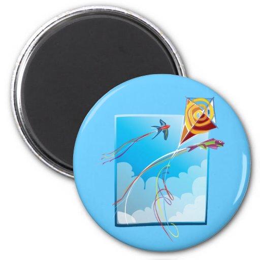 Kite Tails 2 Inch Round Magnet