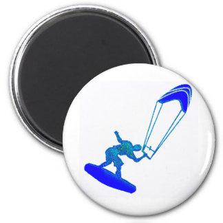 Kiteboard en azul imanes de nevera