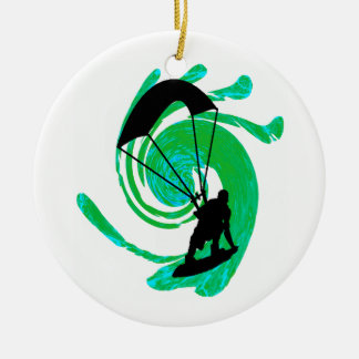 KITEBOARD ON TEAL Double-Sided CERAMIC ROUND CHRISTMAS ORNAMENT