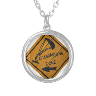 Kiteboard Sign Silver Plated Necklace