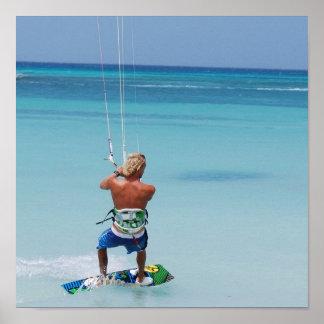 Kiteboarder in Tropics Poster