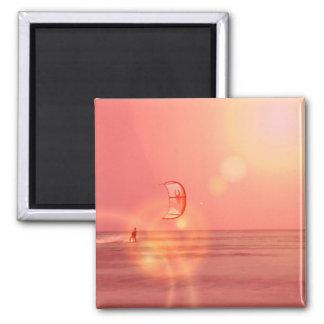 Kiteboarding Sunset Magne 2 Inch Square Magnet