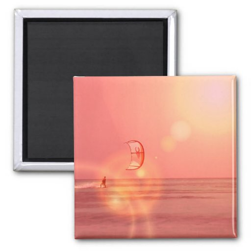 Kiteboarding Sunset Magne 2 Inch Square Magnet