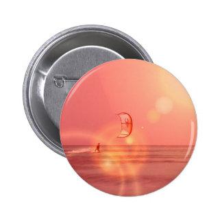 Kiteboarding Sunset Round Button