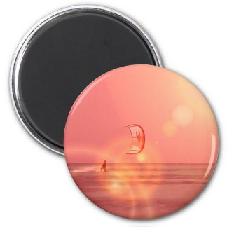 Kiteboarding Sunset Round Magnet
