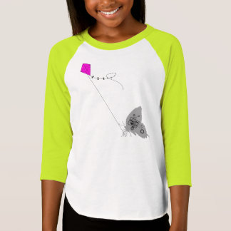 Kiteflying Butterfly Girls 3/4 Raglan T Shirt