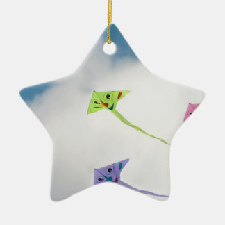 Kites floating in the blue sky with clouds ceramic ornament
