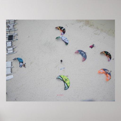 Kites from high (kitesurf kiteboard kiteboarding) poster